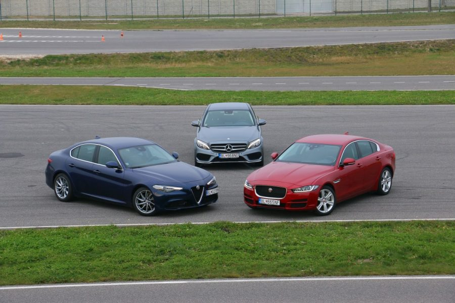 Jaguar xe vs alfa romeo giulia vs mercedes c220d 050 for Alfa romeo vs mercedes benz